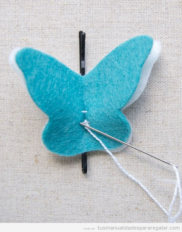 Manualidades regalar, mariposa de fieltro con clip pelo, paso a paso