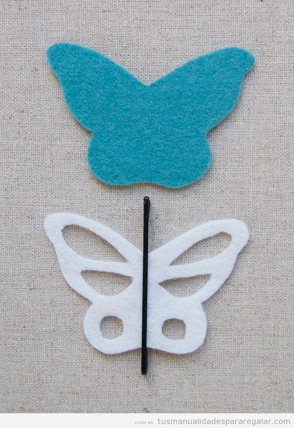 Manualidades regalar, mariposa de fieltro con clip pelo
