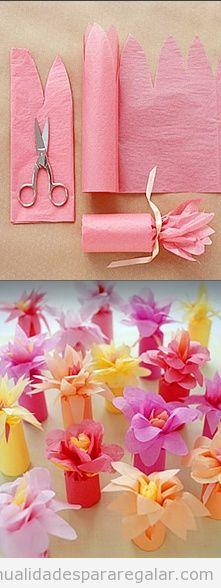 Regalo hecho a mano, flores con papel de seda paso a paso