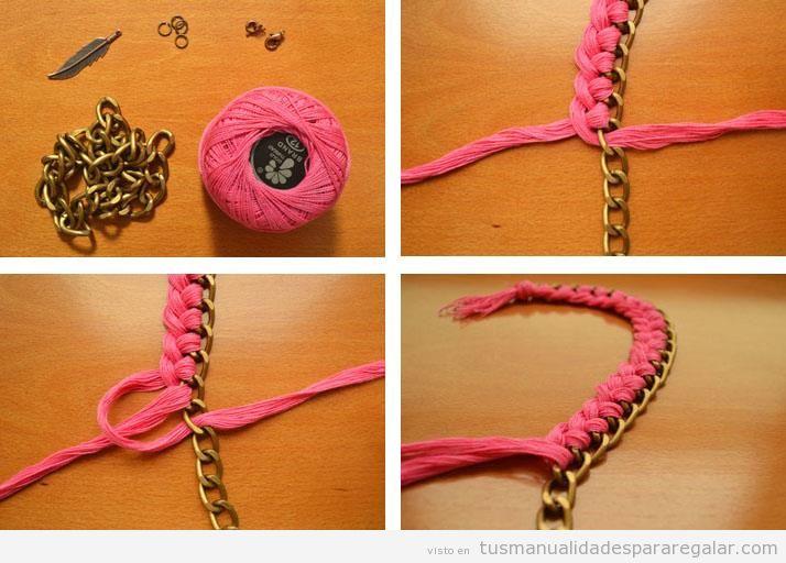 Manualidades para regalar a una madre, amiga o novia, pulsera con cadenas e hilos tutorial fácil