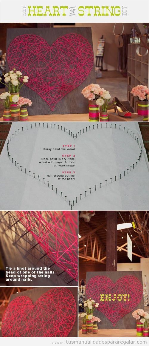 Manualidades para regalar a una novia en San Valentín, hilorama con forma de corazón
