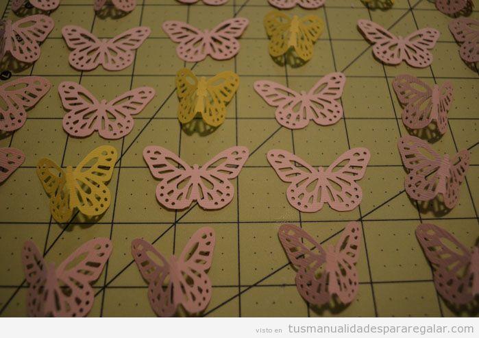 Regalos hechos a mano, móvil con mariposas de papel, Tutorial paso a paso