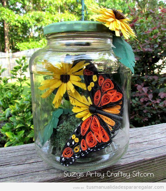 Regalo hecho a mano para chicas, novias y madres, bote de cristal con flores y mariposas