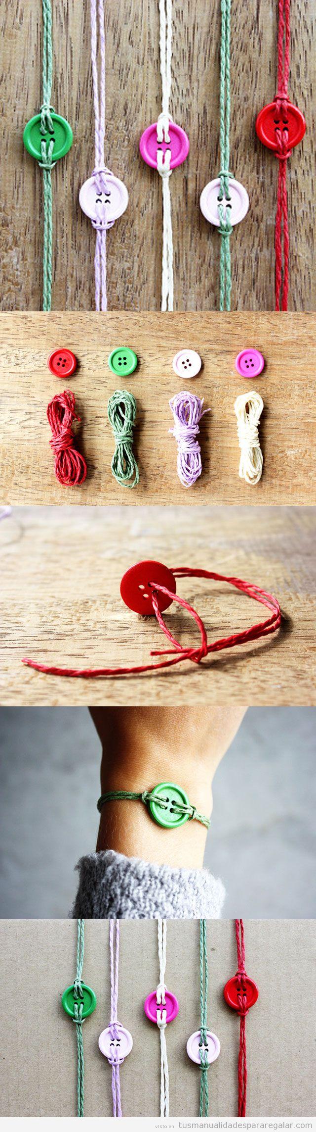 Regalos hechos a mano, pulsera de cuerdas y botones DIY