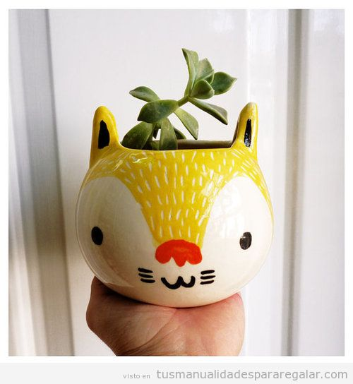 Manualidades originales regalar, maceta con forma y cara de gato
