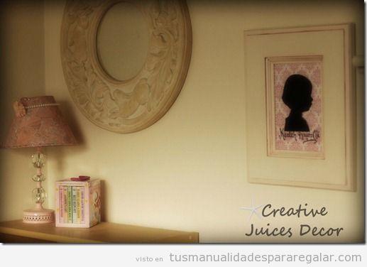 Manualidades regalar, silueta sobre papel pintado en un cuadro