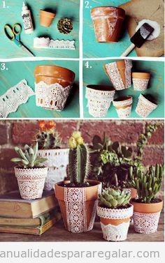 Macetero DIY decorado con encaje, tutorial paso a paso