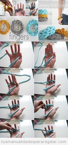 Tutorial paso a paso pulsera de tela o de trapillo, manualidades para regalar