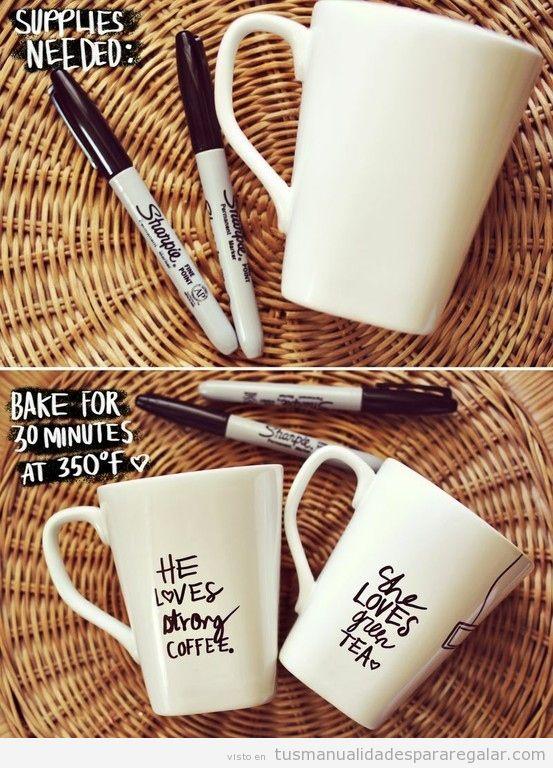Tutorial para decorar taza con rotuladores, manualidad regalar
