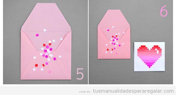 Tutorial manualidades San Valentin, postal con corazón papel 5