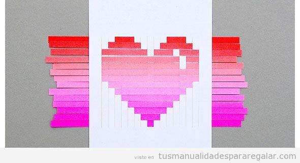 Tutorial manualidades San Valentin, postal con corazón papel