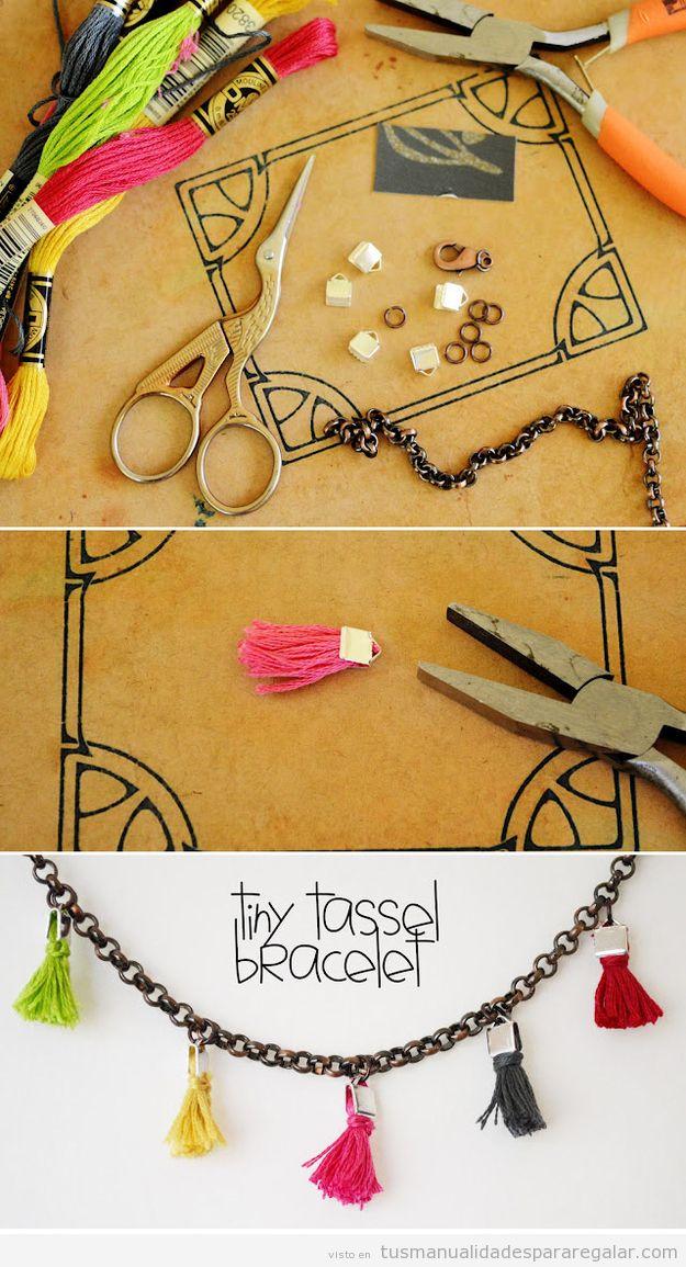 Manualidad regalar, tutorial DIY collar con pompones
