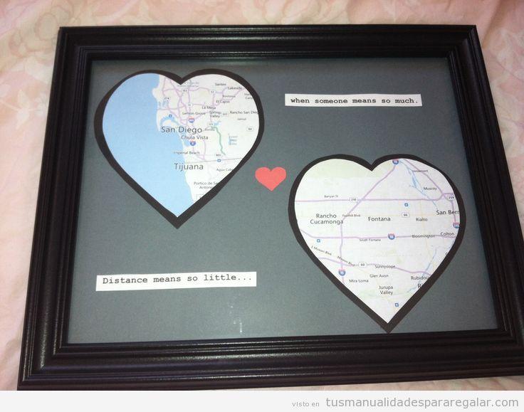Manualidades para regalar a chicos, mapa con corazones