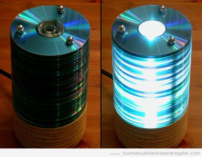 Lámpara DIY de DVDs antiguos