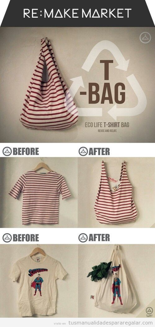 Ideas manualidades, convertir una camiseta vieja en bolsa