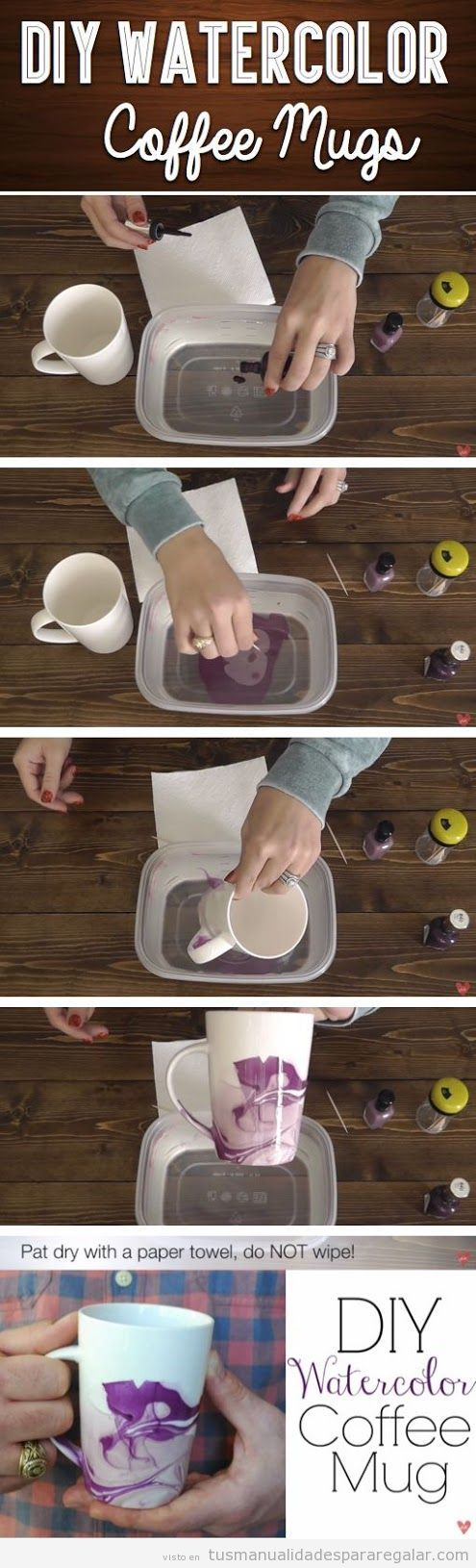 Tutorial decorar taza café efecto acuarela DIY