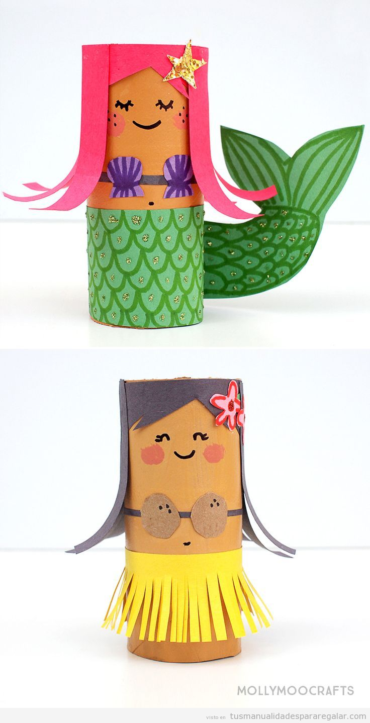 Muñecas sirena y chica hula hechas con rollo de papel de WC