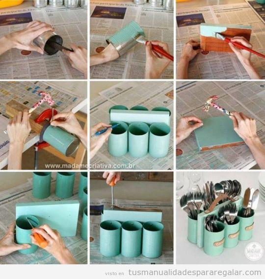 Tutorial organizador cubertería DIY hecho con latas