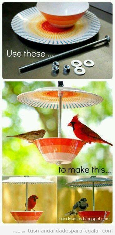 Tutorial bebedero de pájaros con una taza y plato, DIY
