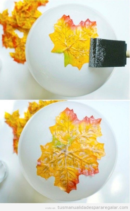 Bol DIY hecho con hojas secas, manualidades de otoño 2