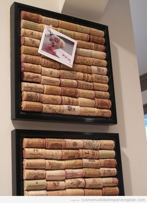 Manualidades originales, tablero de tapones corcho de botellas de vino