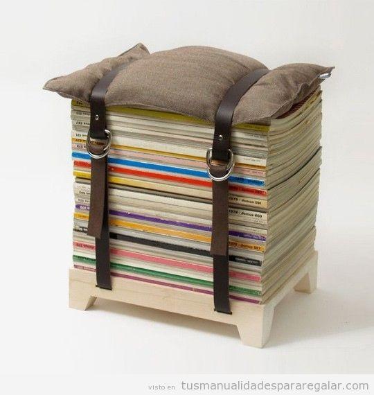 Taburete DIY con revistas y cojín