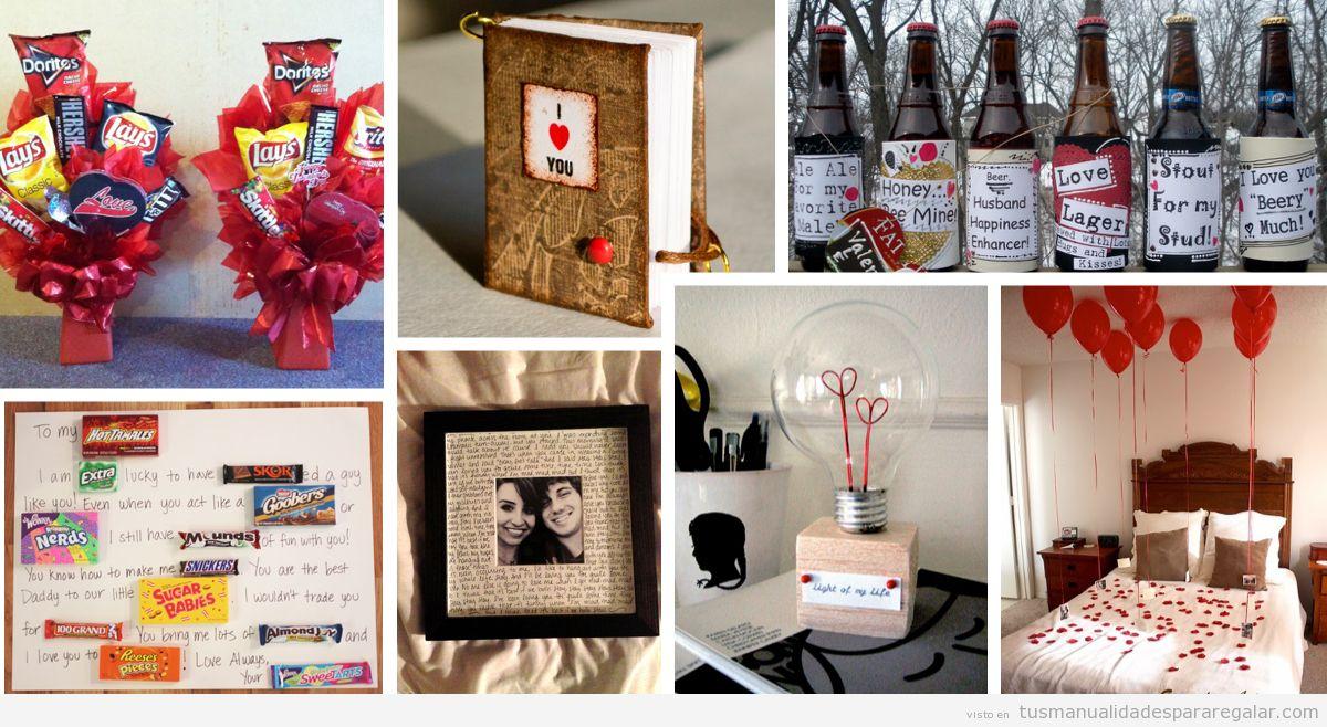Manualidades regalar a novios y hombres en San Valentín