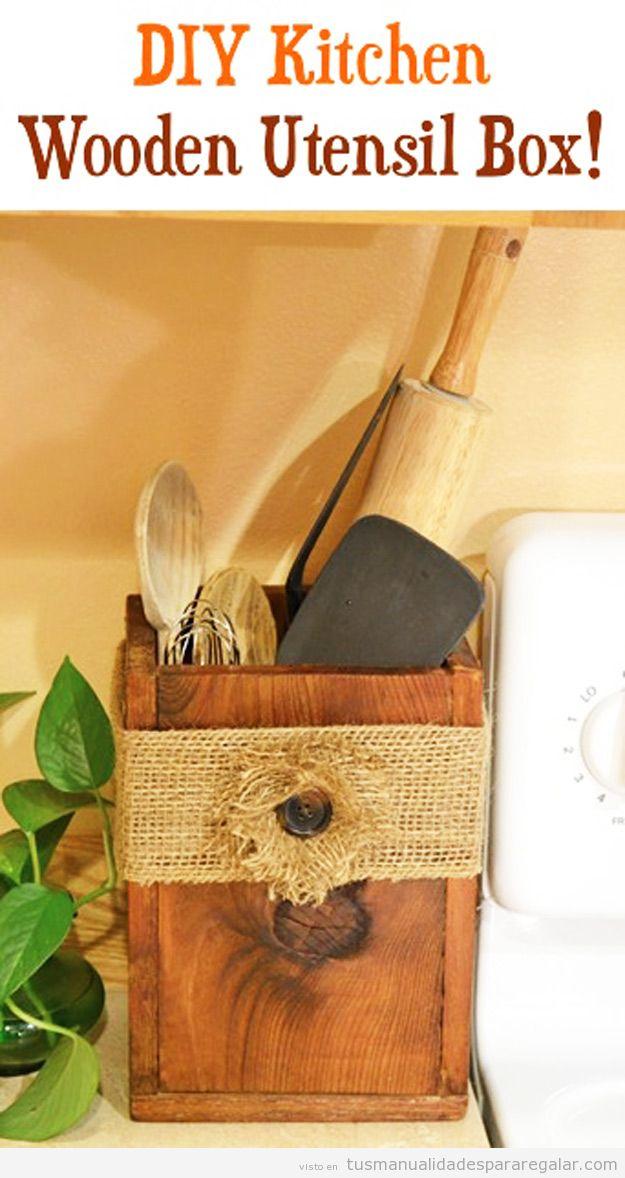 Manualidades regalar, bote para utensilios cocina de madera