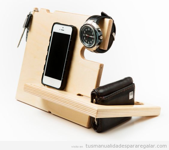 Manualidades para regalar a novios o maridos, soporte para móvil, reloj y cartera