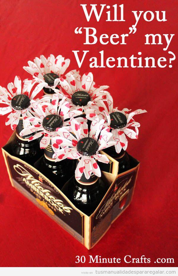 Manualidades para regalar a un hombre en San Valentín, ramo de cervezas