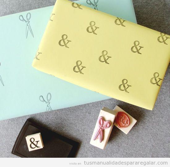 Papel envolver regalo estampado con sellos