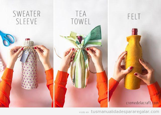 regalos hechos a mano abrigo para envolver botellas