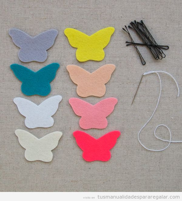 Manualidades regalar, mariposa de fieltro con clip pelo tutorial