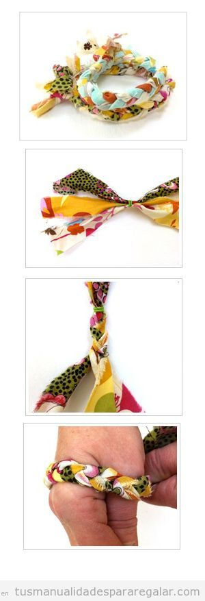 Tutorial pulsera hecha con trozos de tela, regalo hecho a mano para chicas