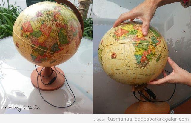 Regalos hechos a mano, lámpara DIY hecha con un globo terráqueo estilo vintage