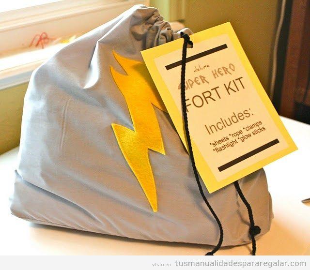 Regalo hecho a mano para chicos o novios, mochila kit superhéroe