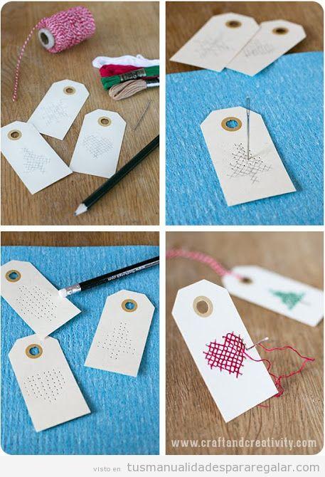 Etiquetas Navidad hechas a mano con punto de cruz