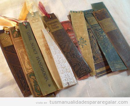 Manualidasdes para regalar, marcapáginas hecho con lomos de libros antiguos
