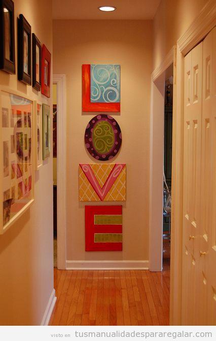 Mural de cuadros DIY palabra Love, manualidades para  regalar