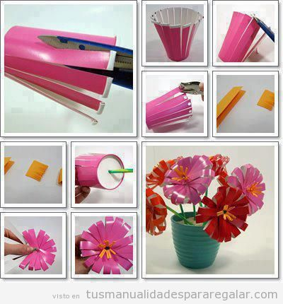 Cómo hacer flores con vasos de plástico, manualidades reciclaje