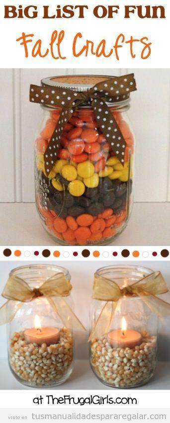 Ideas manualidades regalar otoño, jarrones decorados