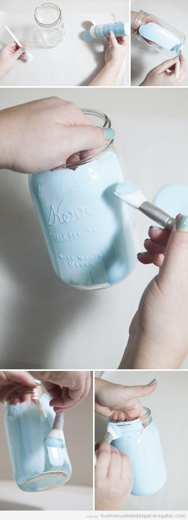 Manualidades para regalar, bote de cristal pintado, tutorial