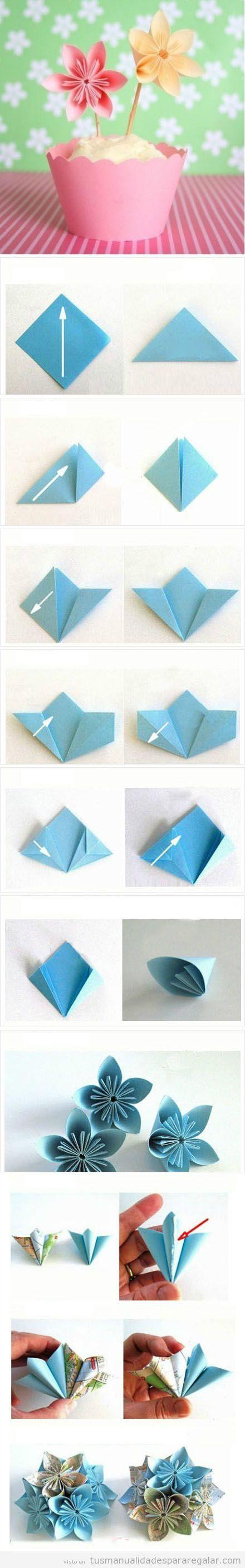 Tutorial origami forma flo, manualidades regalar