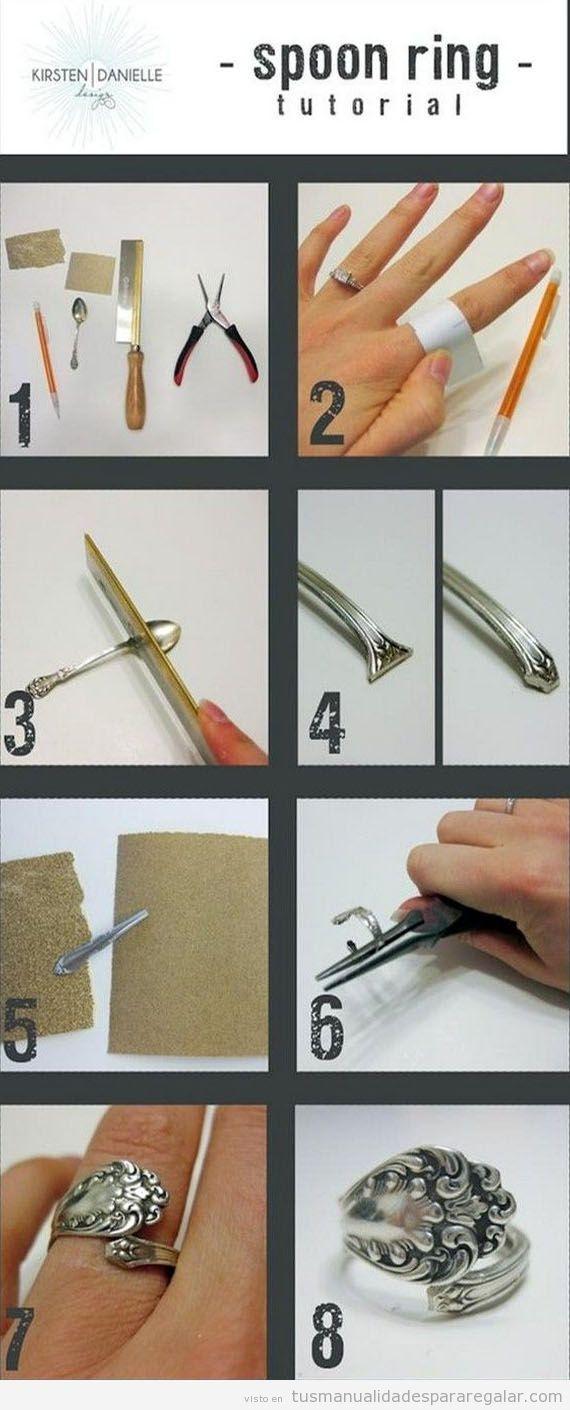 Manualidades regalar, tutorial anillo hecho con cuchara antigua