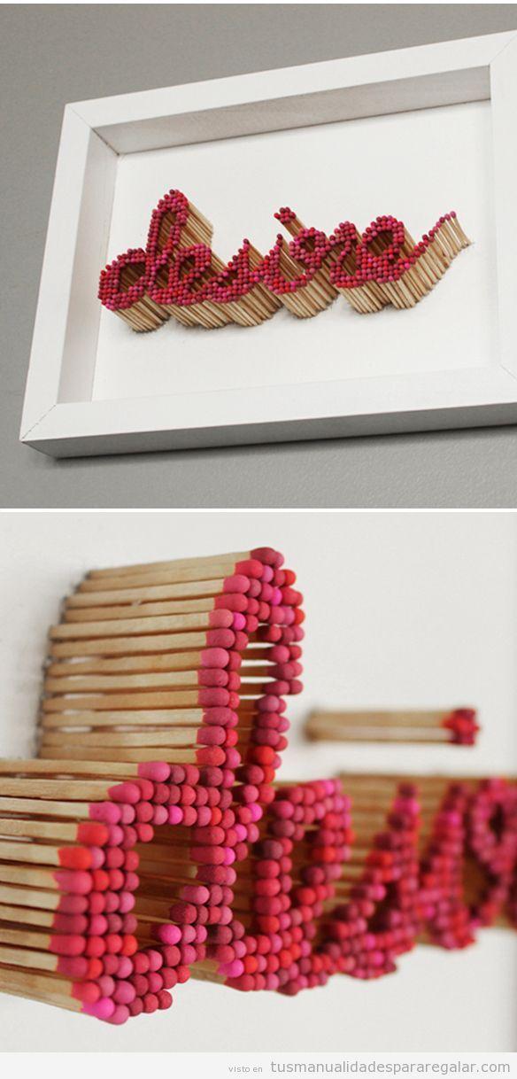Manualidades para regalar, cuadro hecho con cerillas