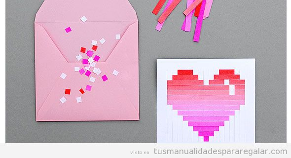 Tarjeta con un corazón de papel estilo pixelado, manualidad para San ...