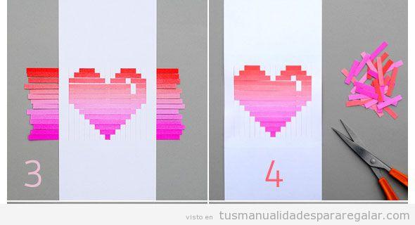 Tutorial manualidades San Valentin, postal con corazón papel 4
