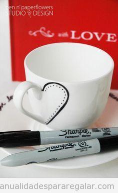 Manualidades para regalar a chicos, taza café personalizada