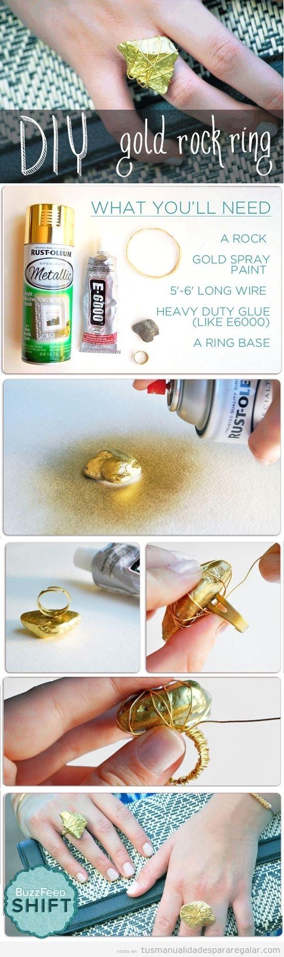 Manualidades regalar, anillo hecho con una piedra, tutorial