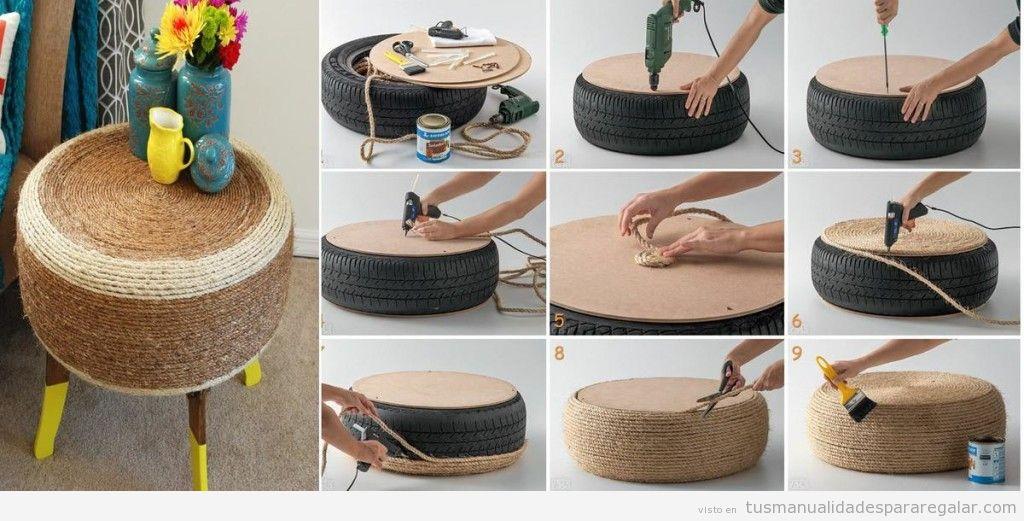 Taburete DIY neumáticos reciclados y tira esparto